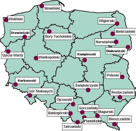 parki narodowe mapa Parki Narodowe